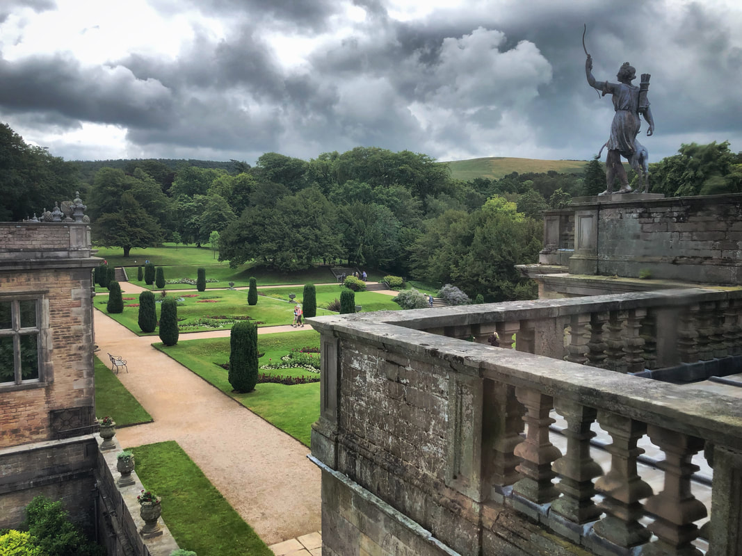 View of the formal gardens at Lyme Park