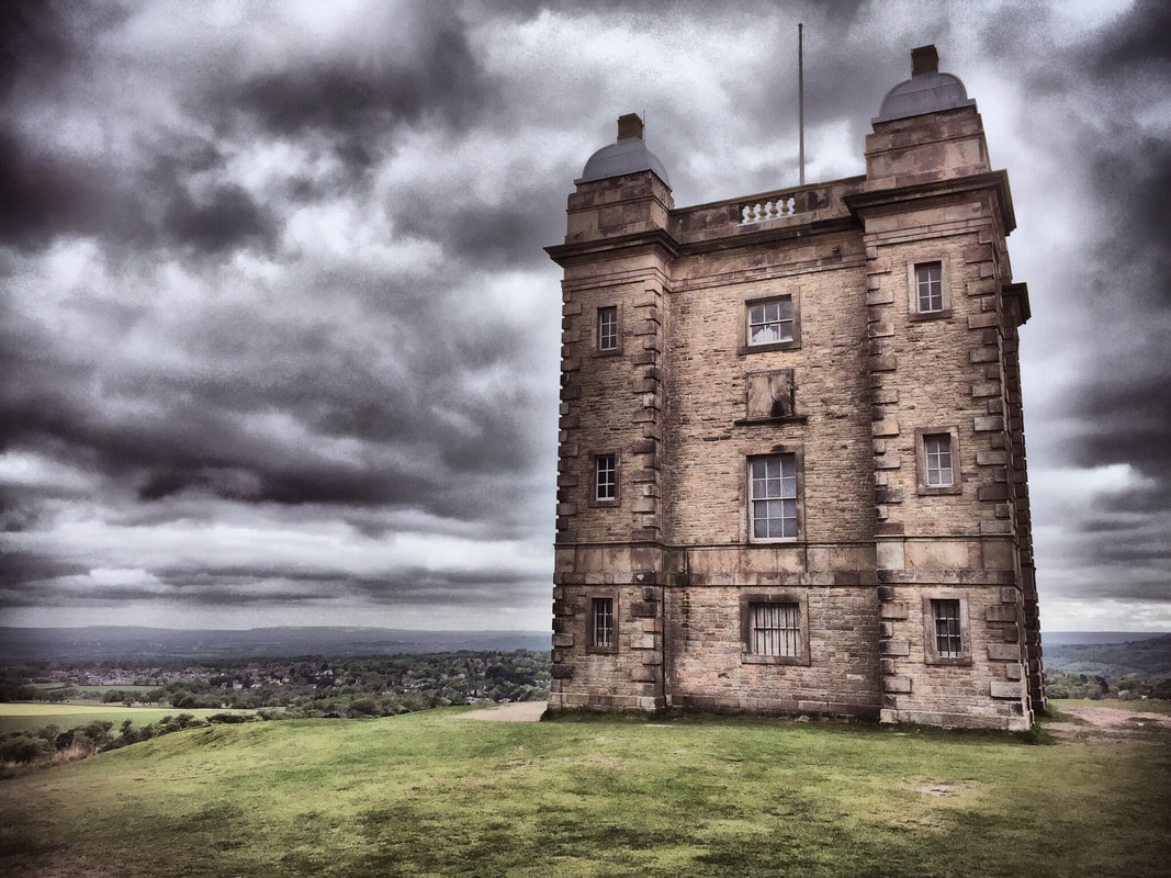 The Cage at Lyme Park, with a dramatic sky