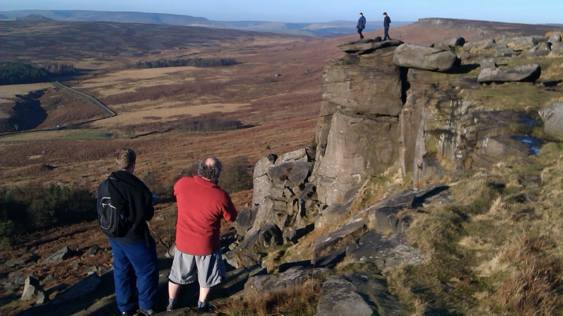 Hikers on Stanage Edge