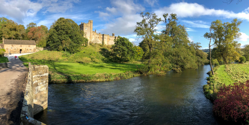 View of Haddon Hall from across the river Wye